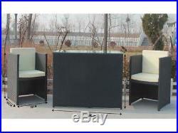 Rattan Bistro Set 3pc Outdoor Cube Set Patio Furniture Garden Table & Chairs Set