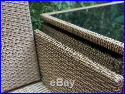 Rattan Brown Garden Dining Furniture Cube Set Sofa Chairs Table Outdoor Patio