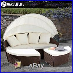 Rattan Brown Garden Furniture 160cm Daybed Outdoor Patio Seating 3pc Set GRADE B