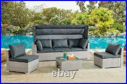 Rattan Canopy Garden Furniture Set Outdoor Lounge Sofa Chair Sunbed Modular