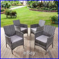 Rattan Chairs Garden Furniture Dining Chair 4 SET Outdoor Garden Chairs Grey