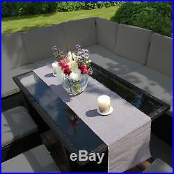 Rattan Corner Garden Furniture Outdoor Sofa Table Set Dining Patio Free Cover