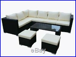 Rattan Corner Garden Furniture Set Black Brown Outdoor Patio Sofa Table L Shape