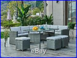 Rattan Corner Garden Furniture Set Black Grey Dining Table Outdoor Patio Set