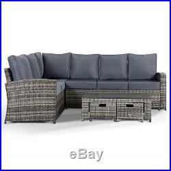 Rattan Corner Garden Sofa Coffee Table Furniture Set in Grey 8 Seats