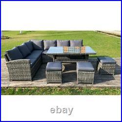 Rattan Corner Group Garden Furniture Set Outdoor Dining Table Sofa Stool Set