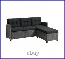Rattan Corner Sofa Black Grey Garden Set Furniture Chair Patio Conservatory Seat