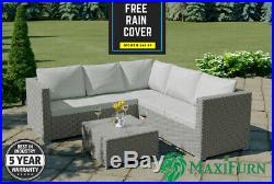 Rattan Corner Sofa and Table Outdoor Garden Furniture Set 5 Seater Grey or Brown