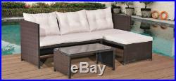 Rattan Corner Sofas Patio Garden Furniture Set Outdoor Conservatory Dining Table