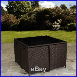 Rattan Cube Dining Table Garden Furniture Patio Set