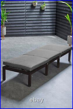 Rattan Day Bed Sun Lounger Reclining Chair Outdoor Garden Furniture Patio Seat