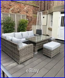 Rattan Dining Garden Furniture Sofa / Corner Couch 9 Seater Set Top Quality Grey