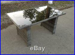 Rattan Dining Table Outdoor Garden Furniture Tempered Glass patio mixed grey