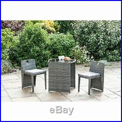 Rattan Effect Compact Square Bistro Set 3 pcs Garden Outdoor Furniture Grey