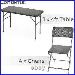 Rattan Effect Garden Dining Set 4ft Folding Table 4 Chairs Furniture Christow