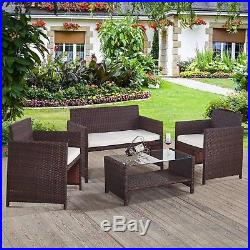 Rattan Furniture 3 or 4 PCS Table and Chairs Sofa Outdoor Patio Garden Courtyard