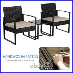 Rattan Furniture Sets 2 Seater Garden Chairs and Patio Table 3pcs Bistro Sets