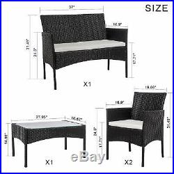 Rattan Garden 4 Pcs Furniture Set Sofa Patio Outdoor Hotel Table Chairs Lounge