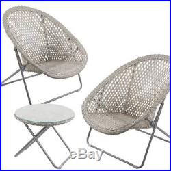 Rattan Garden Bistro Set Outdoor Furniture Folding Chairs & Coffee Table