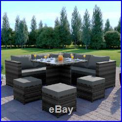 Rattan Garden Corner Sofa Dining Table Set Patio Cube Furniture Grey Brown