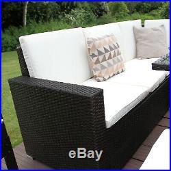 Rattan Garden Corner Sofa Furniture Set Dining Table Brown / FREE Rain Cover