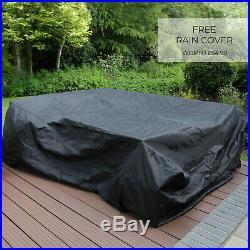 Rattan Garden Corner Sofa Furniture Table Set Brown Black Grey / FREE Cover