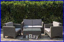 Rattan Garden Furniture 4 Piece Corner Sofa Set Table Chairs Patio Conservatory