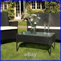 Rattan Garden Furniture 4 Piece Set Table and Chairs Sofa Outdoor Set Yard Black