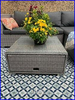 Rattan Garden Furniture 4 Seater Corner Sofa WithTable Lounge Outdoor Patio Set