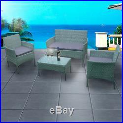 Rattan Garden Furniture 4 piece Set Chair Sofa Table Garden Patio Park Pub Home