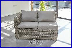 Rattan Garden Furniture 6 Seater Corner Sofa Patio Set Grey coffee table +cover