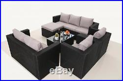 Rattan Garden Furniture 8 Seater Set Sofa Table Chair Conservatory Outdoor Black
