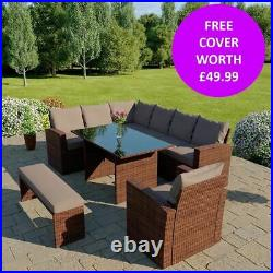 Rattan Garden Furniture 9 Seater Corner Dining Table Bench & Armchair FREE COVER