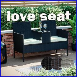 Rattan Garden Furniture Bench Companion Love Seat Table Chair Conservatory