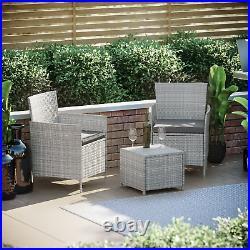 Rattan Garden Furniture Bistro Set 2 Seater Table Chair Outdoor Patio Grey