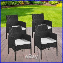 Rattan Garden Furniture Black Dining Chairs 4pcs Outdoor Patio Chairs Cane Chair