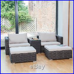 Rattan Garden Furniture Conservatory Armchair or Sofa with Footstool & Table Set
