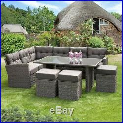 Rattan Garden Furniture Corner Set Dining Table Grey Or Brown Seats 9-10 People
