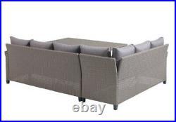 Rattan Garden Furniture Corner Sofa, Cushions And Table In Nature
