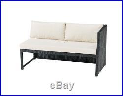 Rattan Garden Furniture Corner Sofa Set Grey or Black Patio Outdoor Lounge Set