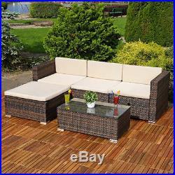 Rattan Garden Furniture Corner Sofa Set Lounger Table Outdoor Patio Conservatory