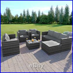 Rattan Garden Furniture Corner Sofa Table Set 7 Seat Grey Brown Black L