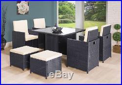 Rattan Garden Furniture Cube Set Chairs Sofa Table Outdoor Patio Rattan Black