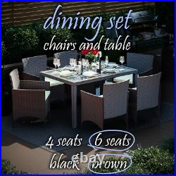 Rattan Garden Furniture Dining Set Wicker Chairs Table Outdoor Patio 4 6 Seater