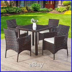 Rattan Garden Furniture Dining Table 4 Chairs Garden Patio Outdoor Set Balcony