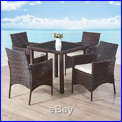 Rattan Garden Furniture Dining Table Top Glass and Chairs Set Outdoor Patio