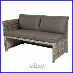 Rattan Garden Furniture Outdoor Dining Table Sofa Set With Grey Rattan And Grey