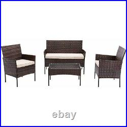 Rattan Garden Furniture Outdoor Patio Conservatory 4 Piece Set Chairs Sofa Table
