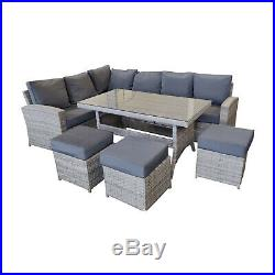 Rattan Garden Furniture Outdoor Patio Set Corner Sofa with Tables and Parasol