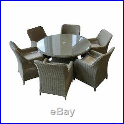 Rattan Garden Furniture Outdoor Patio round dining table and high back chairs